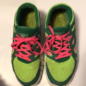Nike Lime Green & Pink Sneakers - size 9